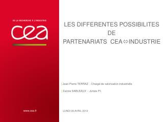 Les DIFFERENTES POSSIBILITES DE  PARTENARIATS CEA Industrie