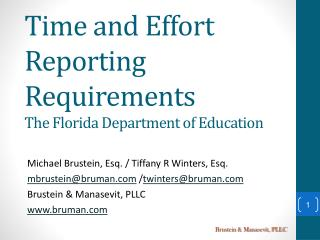 Time and Effort Reporting Requirements The Florida Department of Education