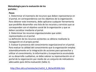 Metodología para la evaluación de los portales :