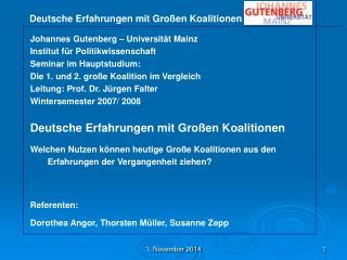 Johannes Gutenberg – Universität Mainz Institut für Politikwissenschaft Seminar im Hauptstudium: