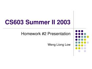 CS603 Summer II 2003