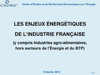 LES ENJEUX ÉNERGÉTIQUES DE L'INDUSTRIE FRANÇAISE (y compris Industries agro-alimentaires,