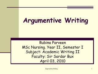 Argumentive Writing