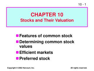 CHAPTER 10 Stocks and Their Valuation