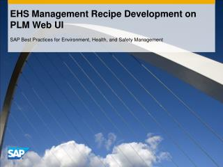EHS Management Recipe Development on PLM Web UI
