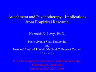 Attachment and Psychotherapy:  Implications from Empirical Research
