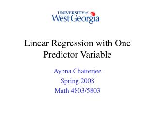 Linear Regression with One Predictor Variable
