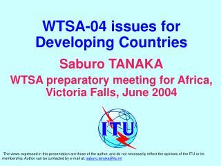 WTSA-04 issues for Developing Countries Saburo TANAKA