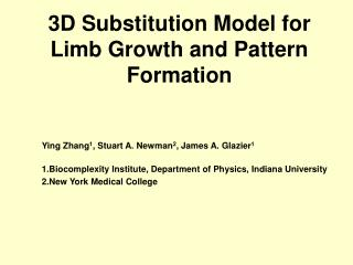 3D Substitution Model for Limb Growth and Pattern Formation