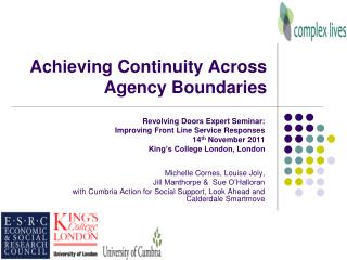 Achieving Continuity Across Agency Boundaries