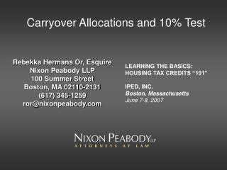 Carryover Allocations and 10% Test