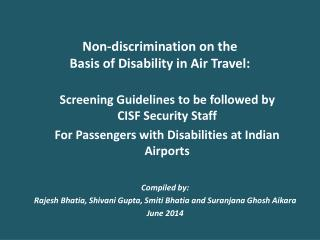 Non-discrimination on the  Basis of Disability in Air Travel :