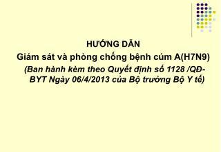 HƯỚNG DẪN  Giám sát và phòng chống bệnh cúm A(H7N9)