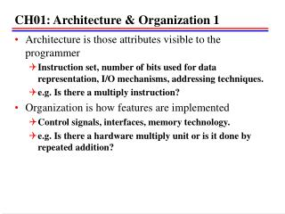 CH01: Architecture & Organization 1