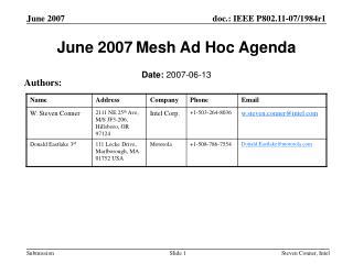 June 2007 Mesh Ad Hoc Agenda
