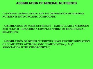 ASSIMILATION OF MINERAL NUTRIENTS