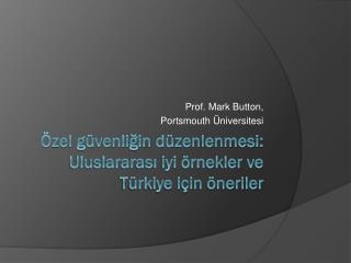 Özel güvenliğin düzenlenmesi :  Uluslararası iyi örnekler ve Türkiye için öneriler