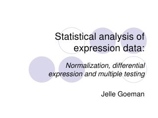 Statistical analysis of expression data: