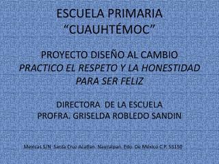 Mexicas S/N  Santa Cruz Acatlan. Naucalpan. Edo. De México C.P. 53150