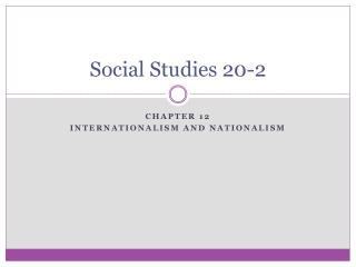Social Studies 20-2