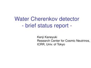 Water Cherenkov detector - brief status report -