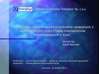 """Badania Systemowe """"EnergSys"""" Sp. z o.o."""