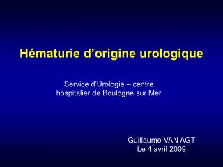 H maturie d origine urologique