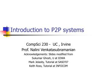 Introduction to P2P systems