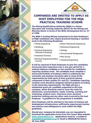 COMPANIES ARE INVITED TO APPLY AS HOST EMPLOYERS FOR THE MQA PRACTICAL TRAINING SCHEME