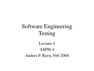 Software Engineering Testing