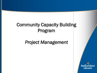 Community Capacity Building Program Project Management