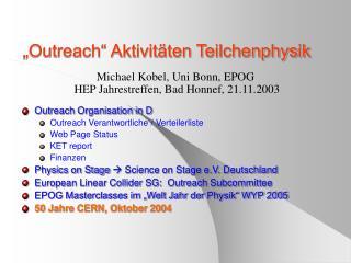 """""""Outreach"""" Aktivitäten Teilchenphysik"""