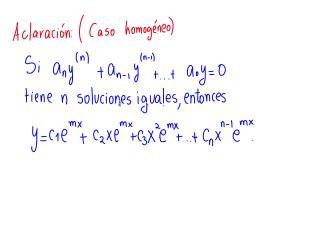 E.D.O. de segundo orden no homogénea con coeficientes constantes