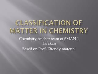 CLASSIFICATION OF MATTER IN CHEMISTRY