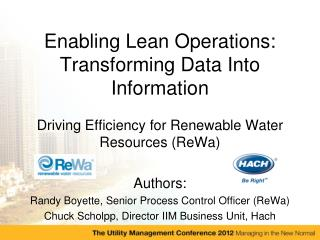 Enabling Lean Operations: Transforming Data Into Information