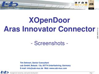 XOpenDoor Aras Innovator Connector - Screenshots -