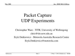 Packet Capture   UDP Experiments