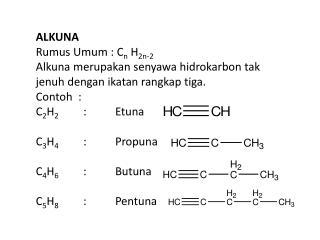 ALKUNA Rumus Umum :  C n  H 2n-2 Alkuna merupakan senyawa hidrokarbon tak