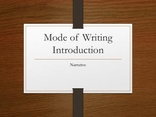 Mode of Writing Introduction