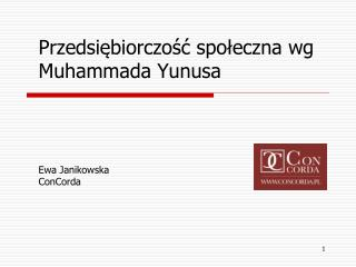 Przedsiębiorczość społeczna wg Muhammada Yunusa