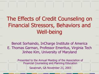 The Effects of Credit Counseling on  Financial Stressors, Behaviors and Well-being