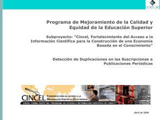 Programa de Mejoramiento de la Calidad y Equidad de la Educación Superior