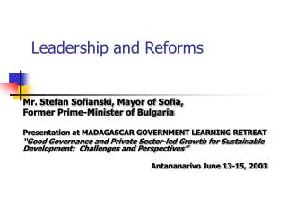 Leadership and Reforms