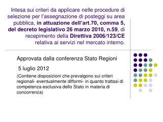 Approvata dalla conferenza Stato Regioni   5 luglio 2012
