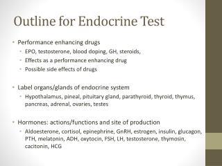 Outline for Endocrine Test