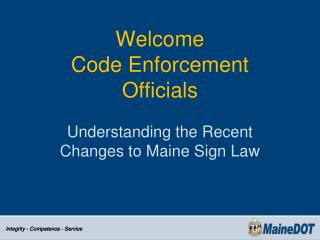 Welcome  Code Enforcement  Officials