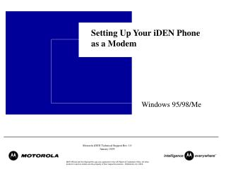 Setting Up Your iDEN Phone as a Modem