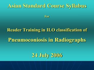 Asian Standard Course Syllabus  For