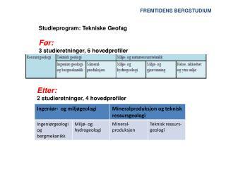 Studieprogram: Tekniske Geofag Før: 3 studieretninger, 6 hovedprofiler
