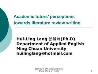 Academic tutors' perceptions towards literature review writing